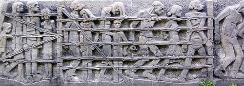 Détail du monument anti-guerre Bittermark Mahnmal, Dortmund, Allemagne