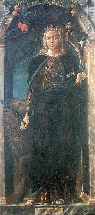Virgin (title) - Saint Euphemia with crown, lily and palm branch (Andrea Mantegna, 1454)