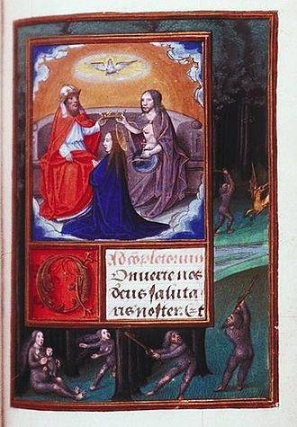 Wild man - Wild people, in the margins of a late 14th-century illumination