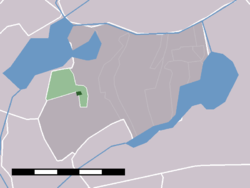 "The town centre of Oud Ade (dark green) and the statistical district ""Oud Ade and Zevenhuizen"" (light green) in the municipality of Alkemade."