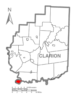 Map of Clarion County, Pennsylvania highlighting Brady Township