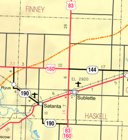 KDOT map of Haskell County (legend)
