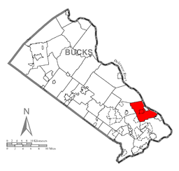 Map of Lower Makefield Township, Bucks County, Pennsylvania Highlighted
