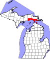State map highlighting Mackinac County