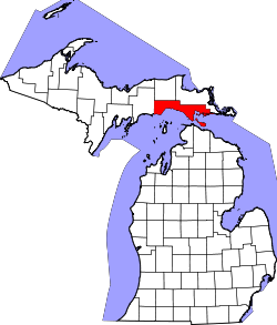 map of Michigan highlighting Mackinac County