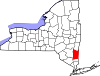 Map of New York highlighting Dutchess County
