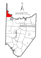 Map of Armstrong County, Pennsylvania highlighting Perry Township