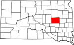 State map highlighting Beadle County