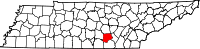 Map of Tennessee highlighting Grundy County