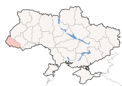 Location of Zakarpattia Oblast (red) within Ukraine (blue)