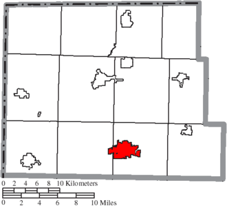 Bryan, Ohio - Image: Map of Williams County Ohio Highlighting Bryan City