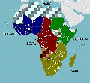African Standby Force - Map of the partitioning of RECs and RMs of the ASF