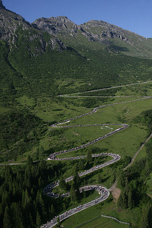 1979 Giro d'Italia - A sample of the road climbing to the top of the Passo Pordoi, the Cima Coppi (highest elevation point) of the 1979 Giro.