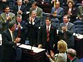 Marco Rubio acknowledging standing ovation upon selection as Speaker with Gov. Jeb Bush at left.jpg