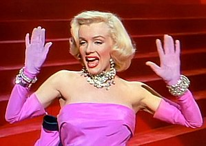 "United States in the 1950s - Marilyn Monroe, Performing ""Diamonds Are a Girl's Best Friend"" in Gentlemen Prefer Blondes, 1953."