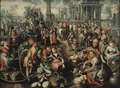 Market Scene, Ecce Homo, the Flagellation and the Carrying of the Cross (Joachim Beuckelaer) - Nationalmuseum - 17271.tif