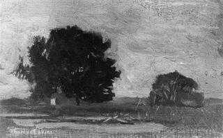Artist and His Father Hunting Reed Birds: Marsh Landscape Sketch