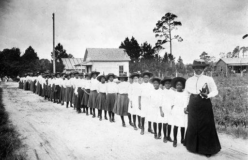 Mary McLeod Bethune with a Line of Girls from the School WDL4013