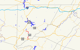 A map of far western Maryland showing major roads.  Maryland Route 560 connects US 50 with MD 135 in southern Garrett County.