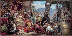 Zawieszenie dzwonu Zygmunta - Image: Matejko Hanging of the Zygmunt bell