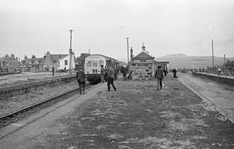 Formartine and Buchan Railway - Buchan Belle railtour on 1 June 1974 at Maud station with the line to Fraserburgh on the left and the trackbed to Peterhead on the right