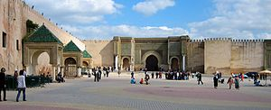 Bab Mansour Gate, the historical sign of Meknes.