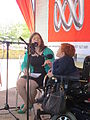 Melanie Tait of 2CN Canberra ABC interviewing Stella Young at Floriade Canberra.JPG