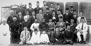 Ahmadiyya in Egypt - Cairo 1938:  A group of early Egyptian Ahmadis with Maulana Abu᾽l-῾Ata Jalandhari (seated center, turbuned) and Mirza Nasir Ahmad to his right