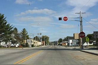 Merrillan, Wisconsin - Image: Merrillan Wisconsin Downtown WIS95WIS27US12