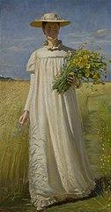Anna Ancher vender hjem fra marken