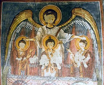 English: Fresco of archangel Michael protectin...