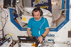 Mikhail Tyurin - Mikhail Tyurin, Expedition 14 flight engineer works with the Test of Reaction and Adaptation Capabilities (TRAC) experiment in the Destiny laboratory of the ISS.