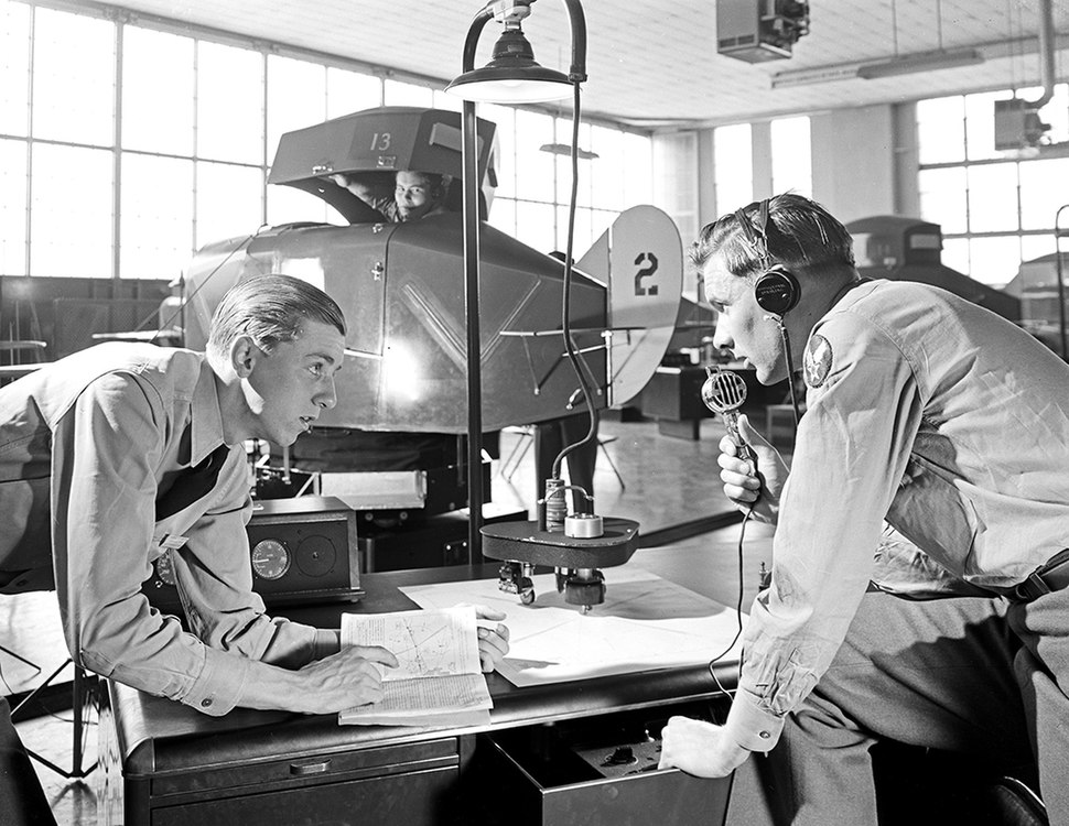 Military Personnel Using Link Trainer, Pepperell Manufacturing Company (11327128056)