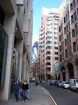Mincing Lane - Looking north up Mincing Lane, with Minster Court on the right and 30 St Mary Axe in the background
