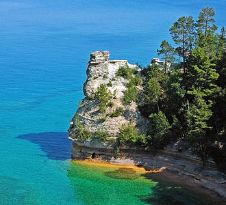 Pictured Rocks National Lakeshore - Miners' Castle after one turret collapsed in April 2006