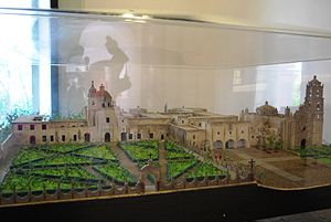 Museo Nacional del Virreinato - Model of the museum with Churches of San Francisco Javier and San Pedro Apostol