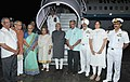 Mohd. Hamid Ansari and Smt. Salma Ansari being received by the Governor of Goa, Smt. Mridula Sinha and the Chief Minister of Goa, Shri Manohar Parrikar, at Goa International Airport, in Goa on September 21, 2014.jpg