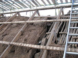 Moirlanich Longhouse - Excavated section through the Moirlanich Longhouse roof