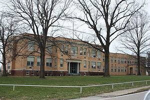 Monroe City High School, now the Blue Jeans Community Center, Main Street, Monroe City.