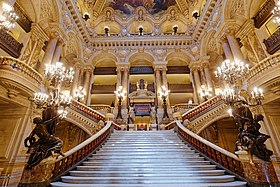 Monumental stairway of the palais Garnier opera in Paris