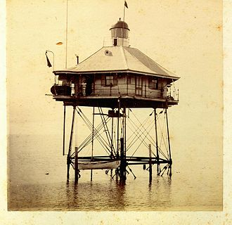 Moreton Bay Pile Light - The first Moreton Bay Pile Light ca. 1880