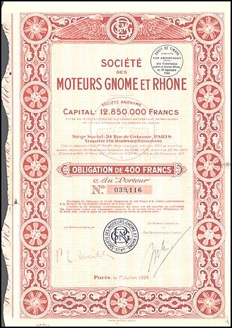 Gnome et Rhône - Bond of the Société des Moteurs Gnome et Rhône, issued 1. July 1924