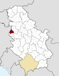 Location of the municipality of Loznica within Serbia