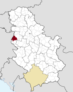 Location of the city of Loznica within Serbia