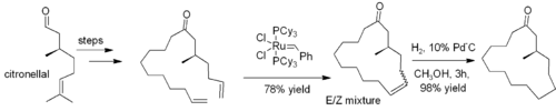 Synthesis of muscone via RCM