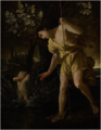 NARCISSUS GAZING AT HIS REFLECTION AND CUPID SHOOTING AN ARROW, IN A LANDSCAPE.png
