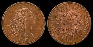 Wreath cent - 1793 Flowing Hair Cent (wreath)