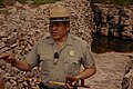 NPS Ranger Ben Butterfield holding a pipe at Pipestone National Monument. Image Number 72-289-3. (5d888c19588e4cf3b639abb64697856a).jpg