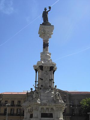 Navarre - Memorial to the Charters of Navarre erected by popular subscription in Pamplona, after the Gamazada (1903)