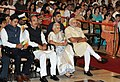Narendra Modi at the presentation ceremony of gallantry Awards, at Rashtrapati Bhavan, in New Delhi on April 26, 2015. The Minister of State for Information & Broadcasting, Col. Rajyavardhan Singh Rathore is also seen.jpg